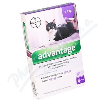 Advantage 80mg pro v.kočky+králíky spot-on 4x0.8ml